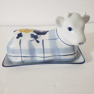 Ceramic Cow Country Floral Covered Butter Dish